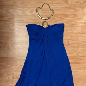 Royal Blue Dress with Gold Chain Halter!